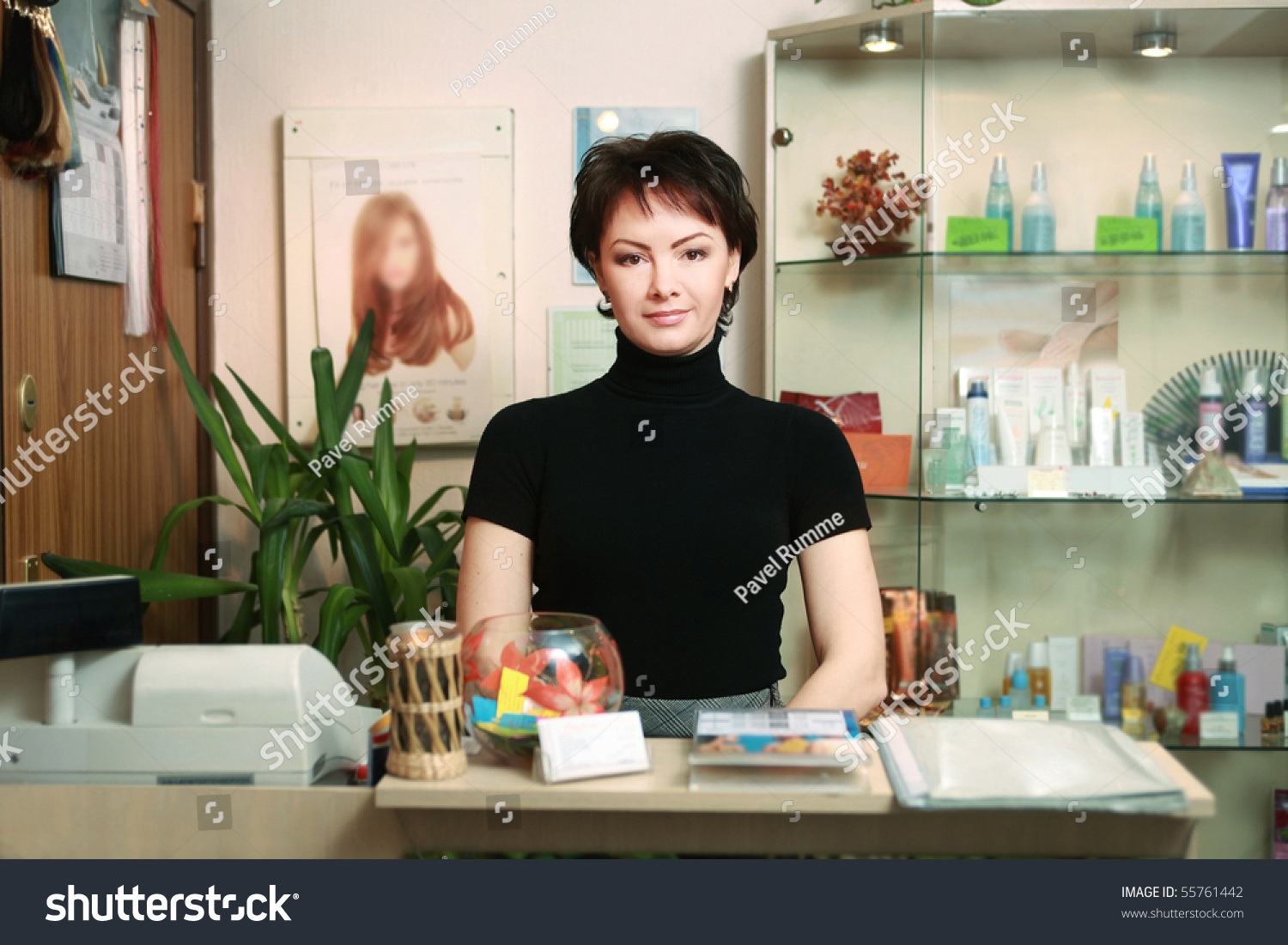 portrait beautiful receptionist spa salon stock photo  portrait of a beautiful receptionist in spa salon
