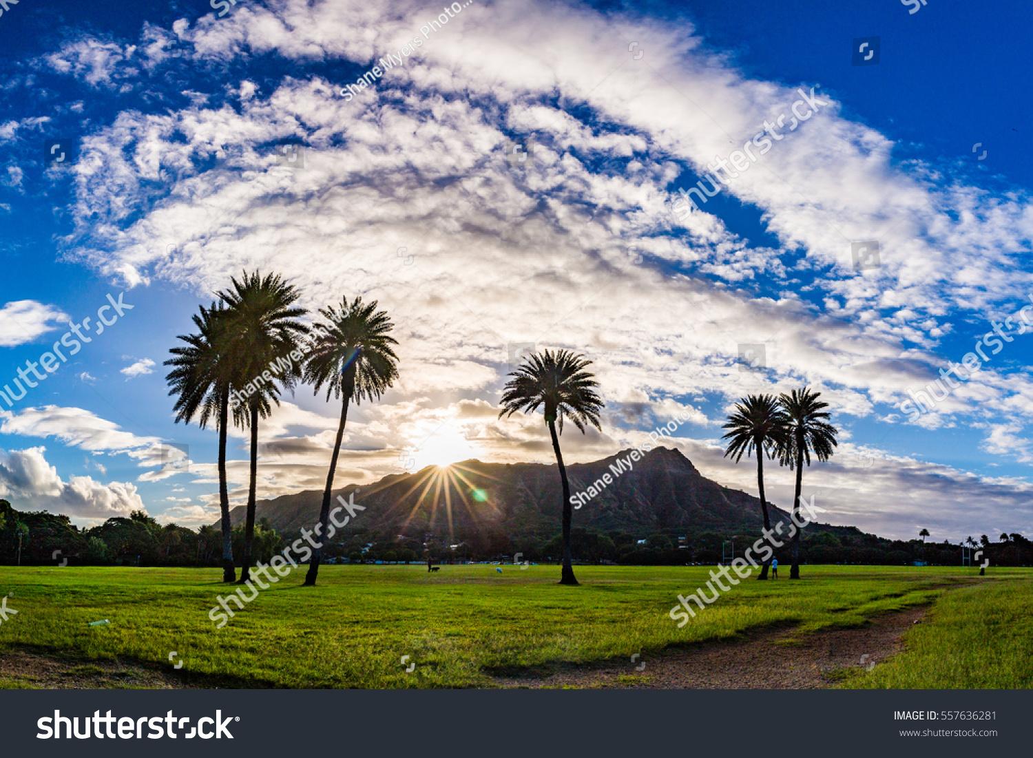 Beautiful Sunrise Over Diamond Head Oahu Stock Photo ...