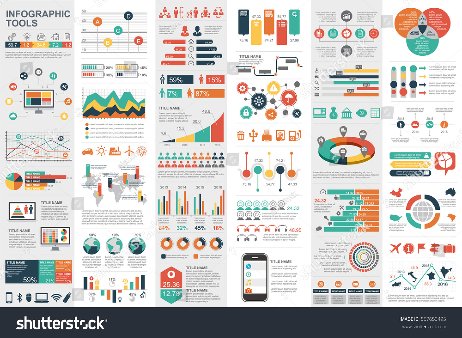 Connu Infographic Elements Data Visualization Vector Design Stock Vector  NF01
