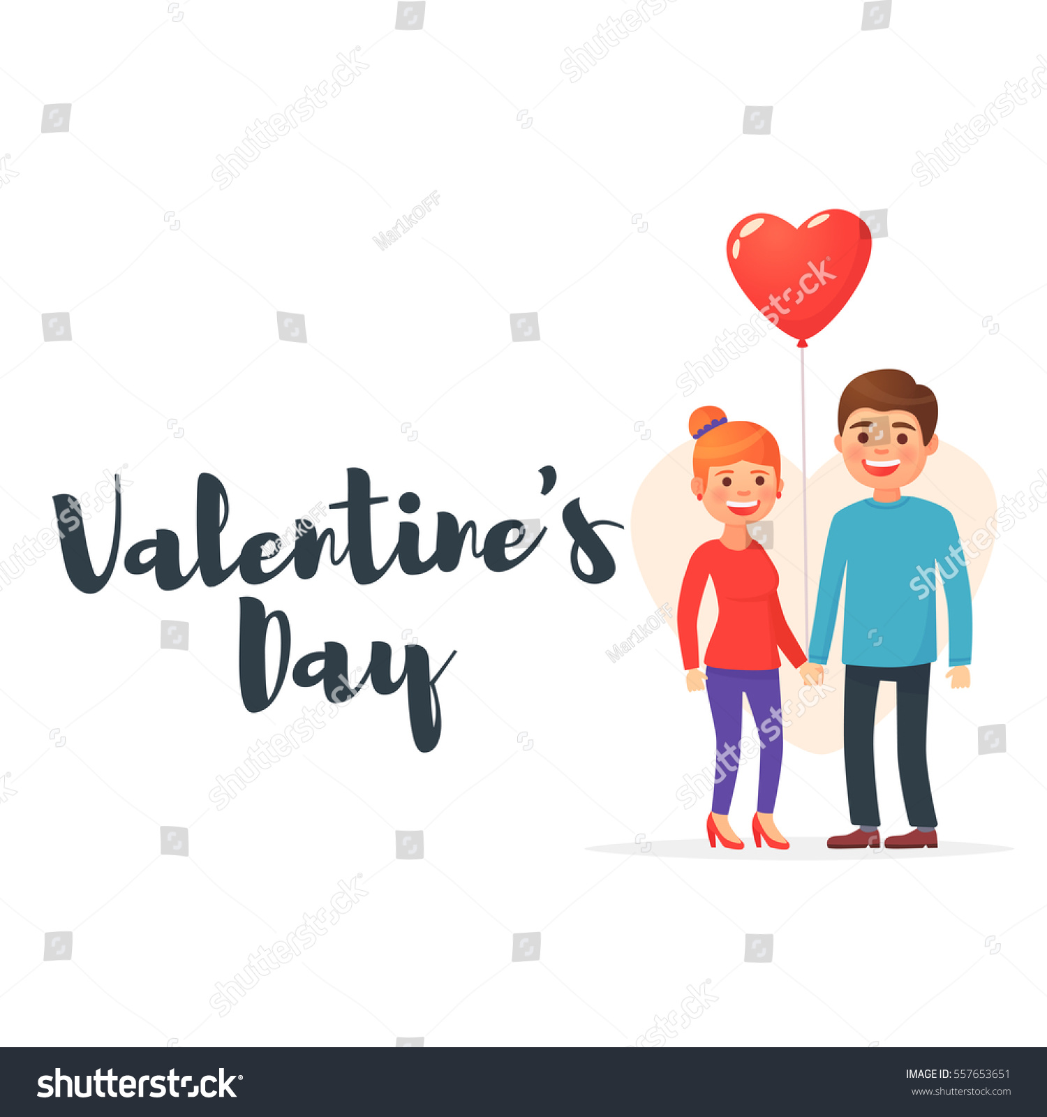 Valentines Day Cute Couple Love Day Stock Vector Royalty Free