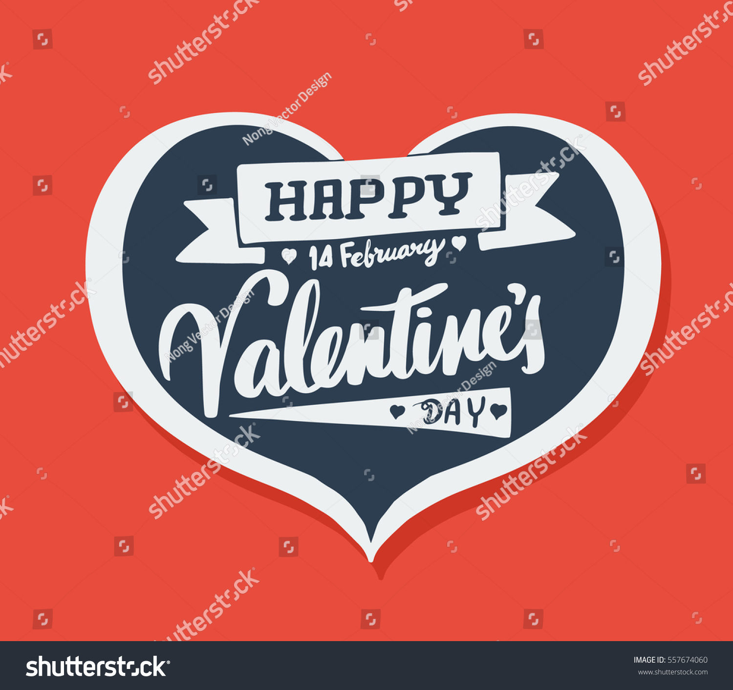 happy valentines day lettering heart banner stock vector 557674060