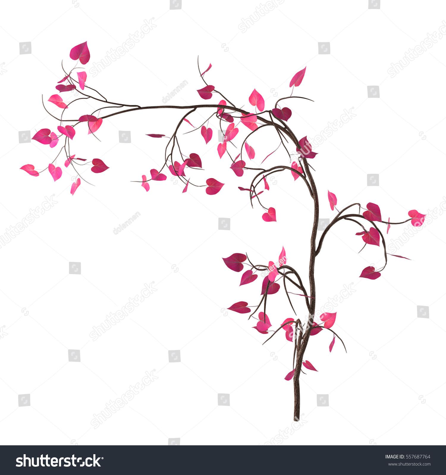 Love Tree Pink Heartshaped Leaves Isolated Stock Illustration