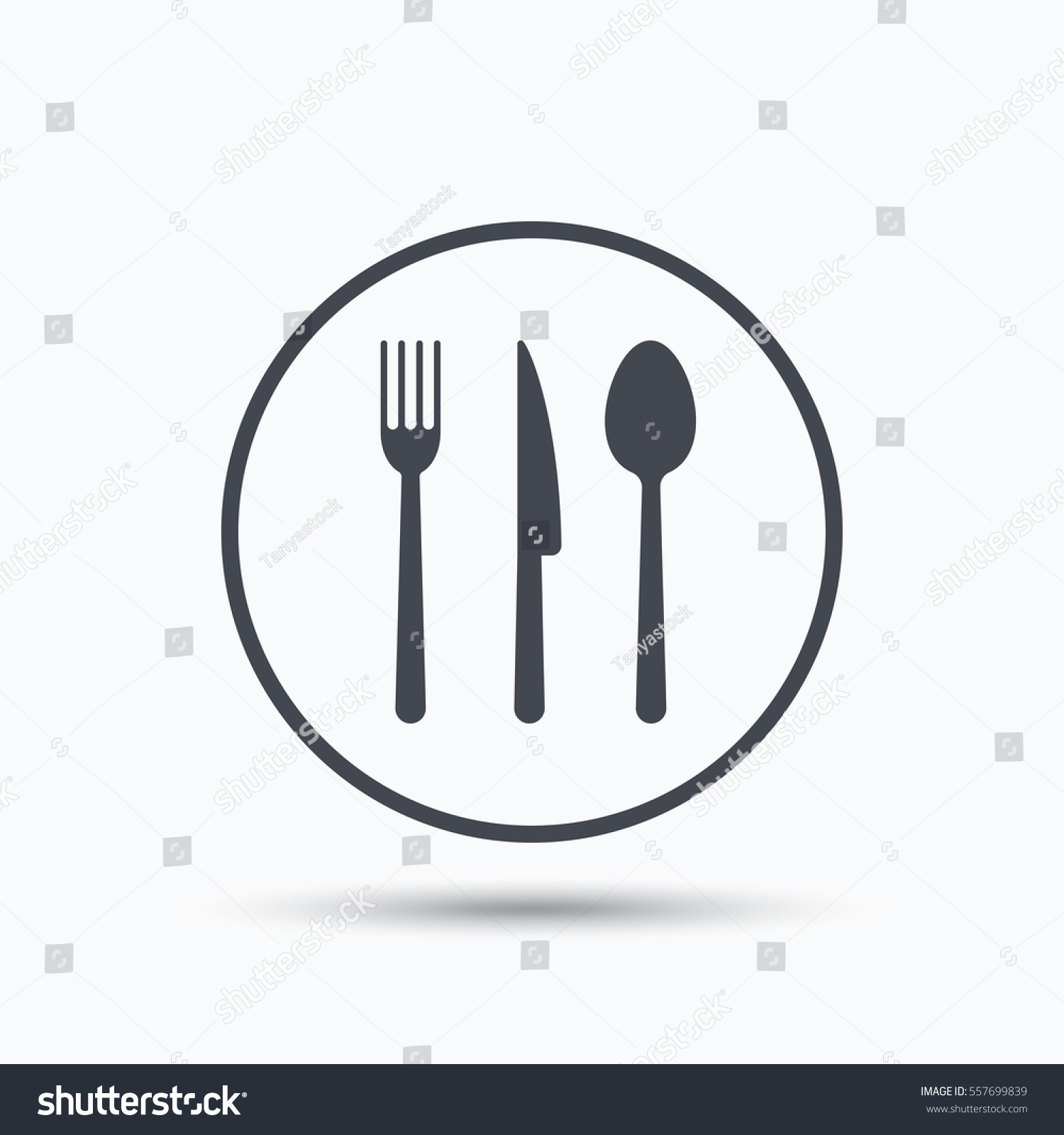 Fork Knife And Spoon Icons Cutlery Symbol Blue Circle Button With