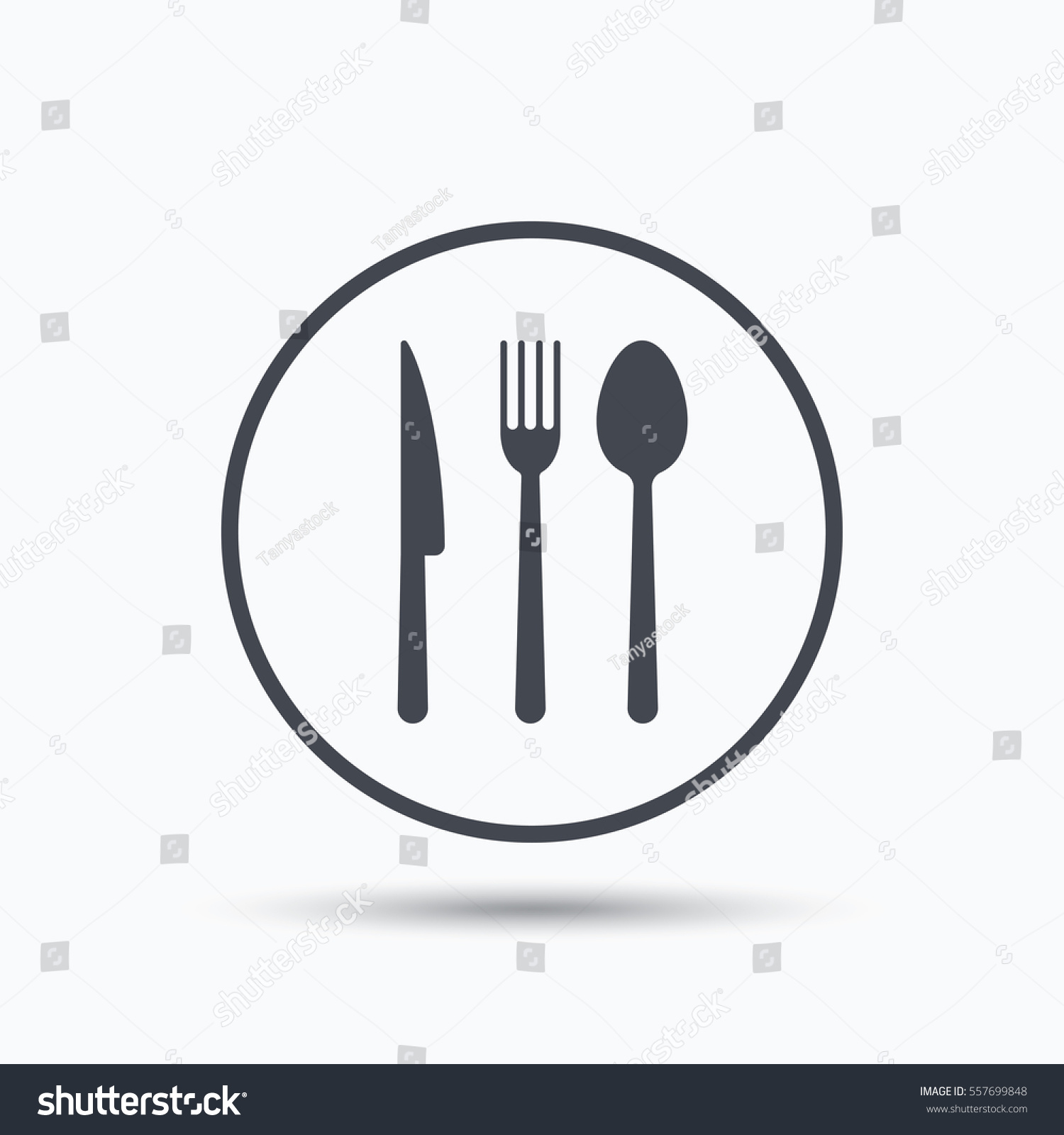 Fork Knife Spoon Icons Cutlery Symbol Stock Illustration 557699848