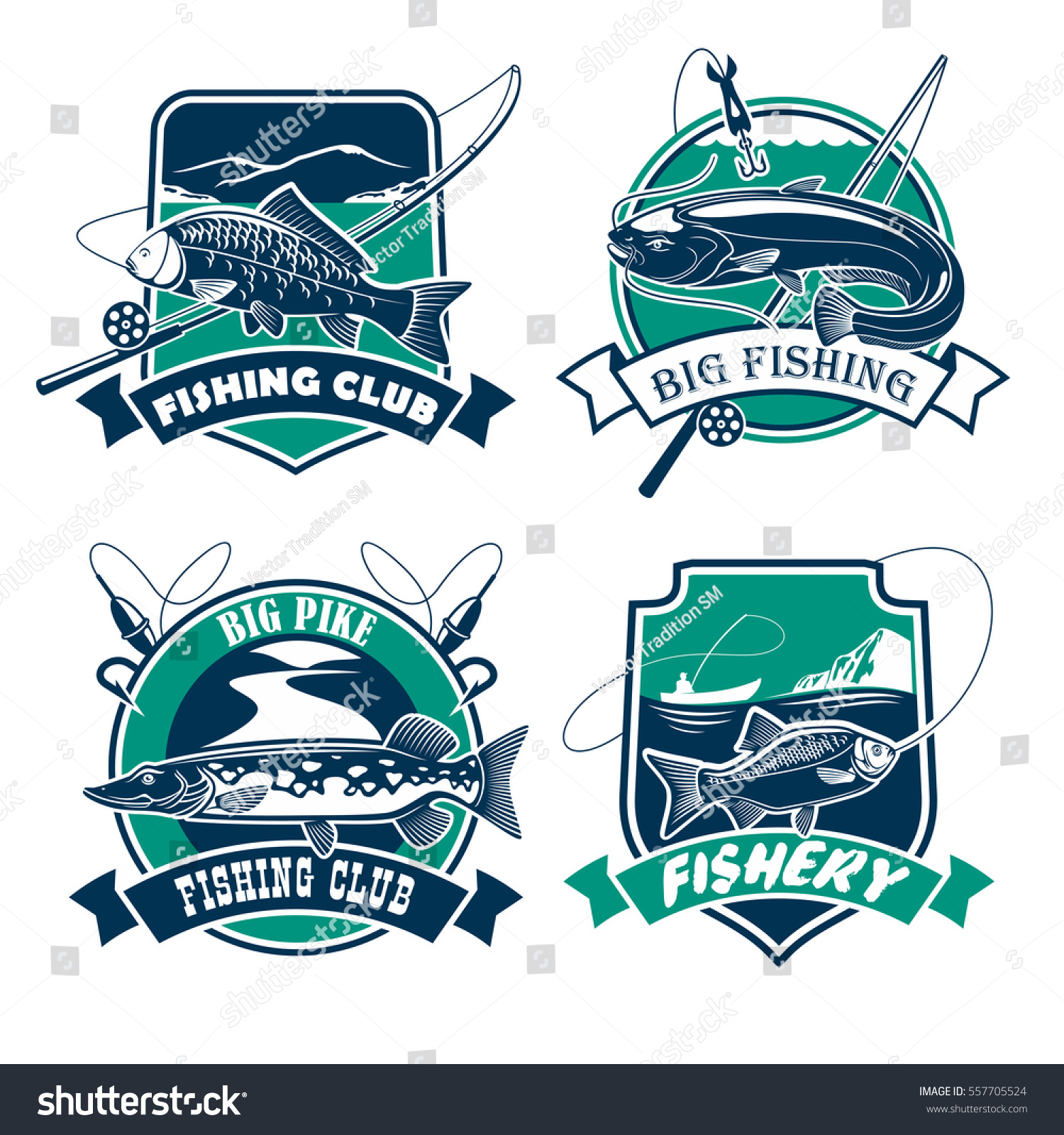 Fishing Icons Set Fisherman Club Fishery Stock Vector 557705524