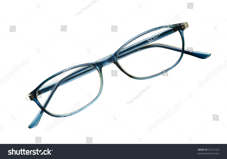 Reading Glasses Blue Frames : Reading Glasses With Blue Frame; Isolated On White ...