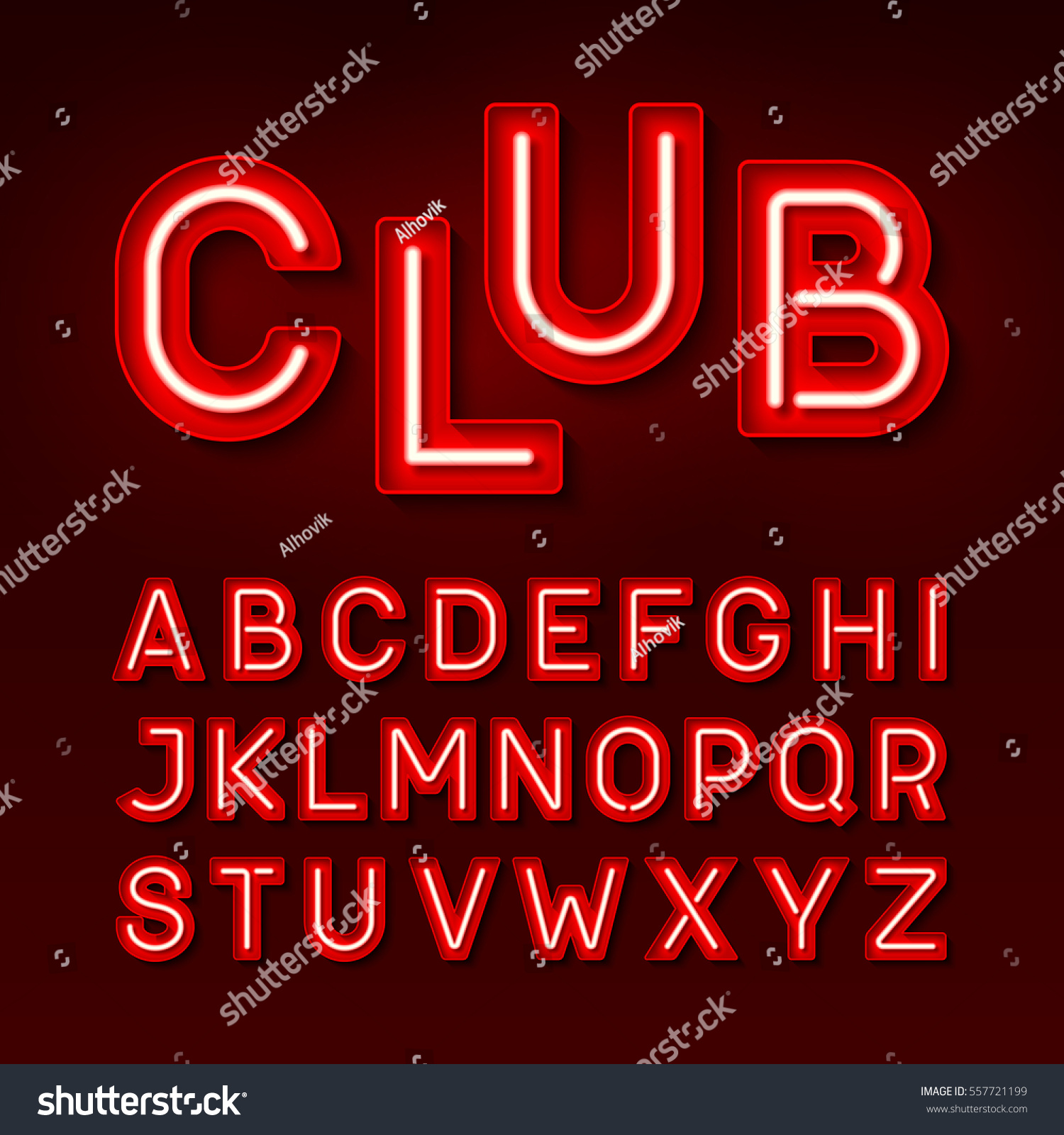 Night Club Neon Font Broadway Style Vectores En Stock 557721199 ...