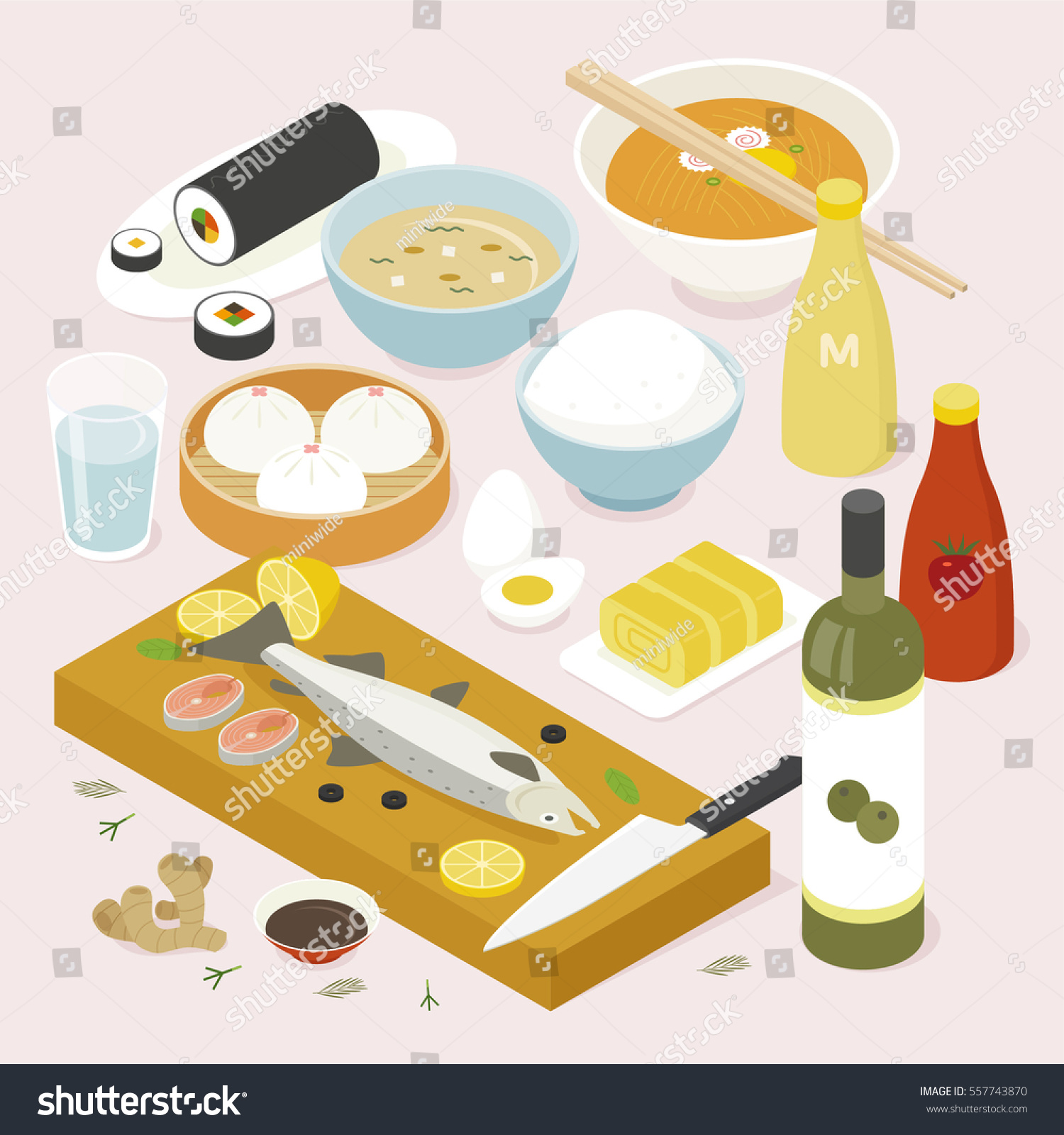 Isometric food asia table vector illustration stock vector for Table design vector