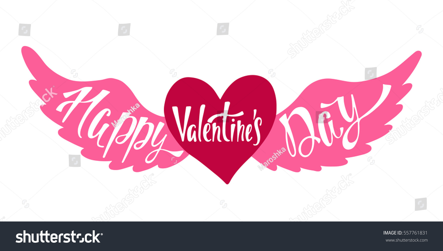 Happy Valentines Day Banner Handwritten Vector Stock Vector Royalty