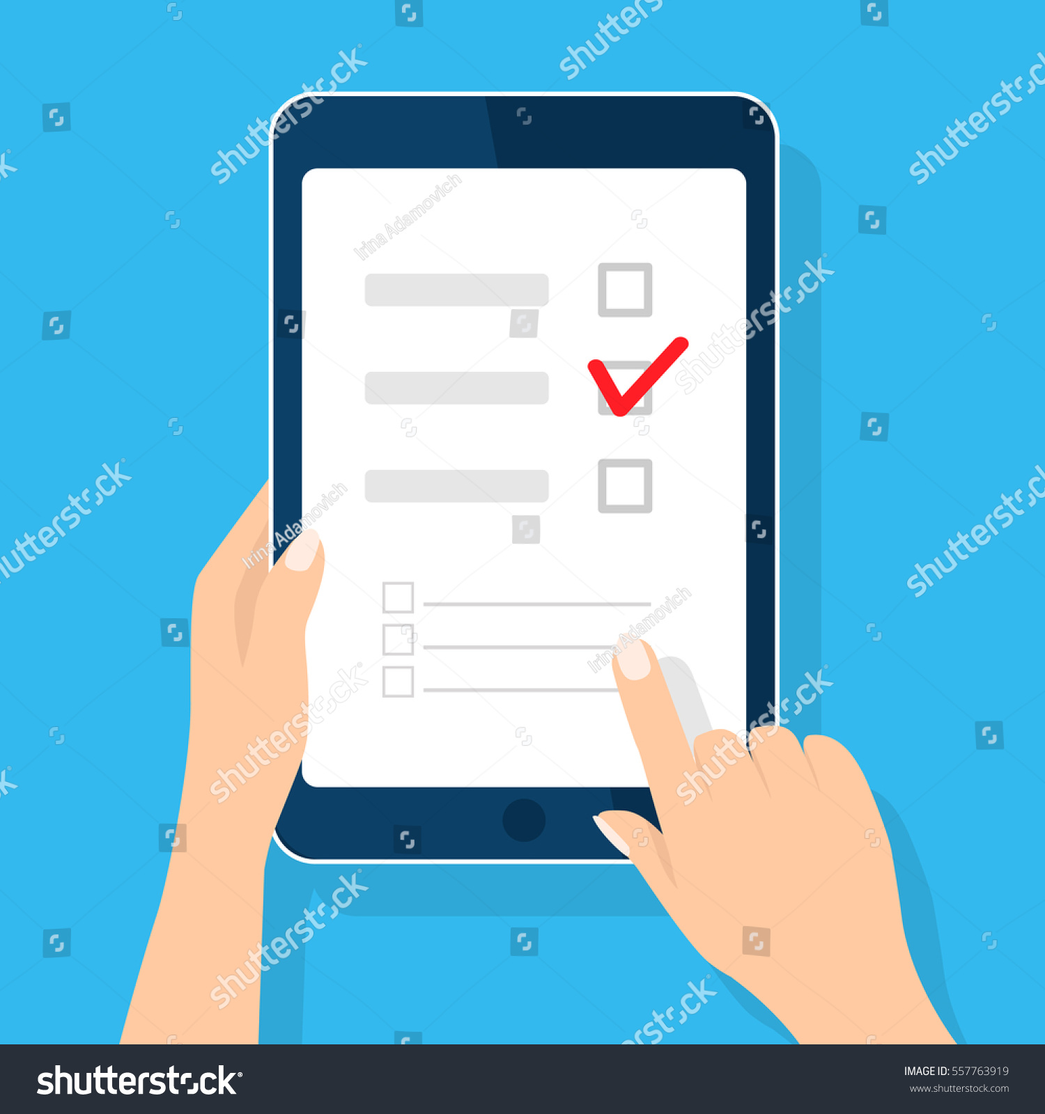 online survey checklist hand holds tablet stock vector