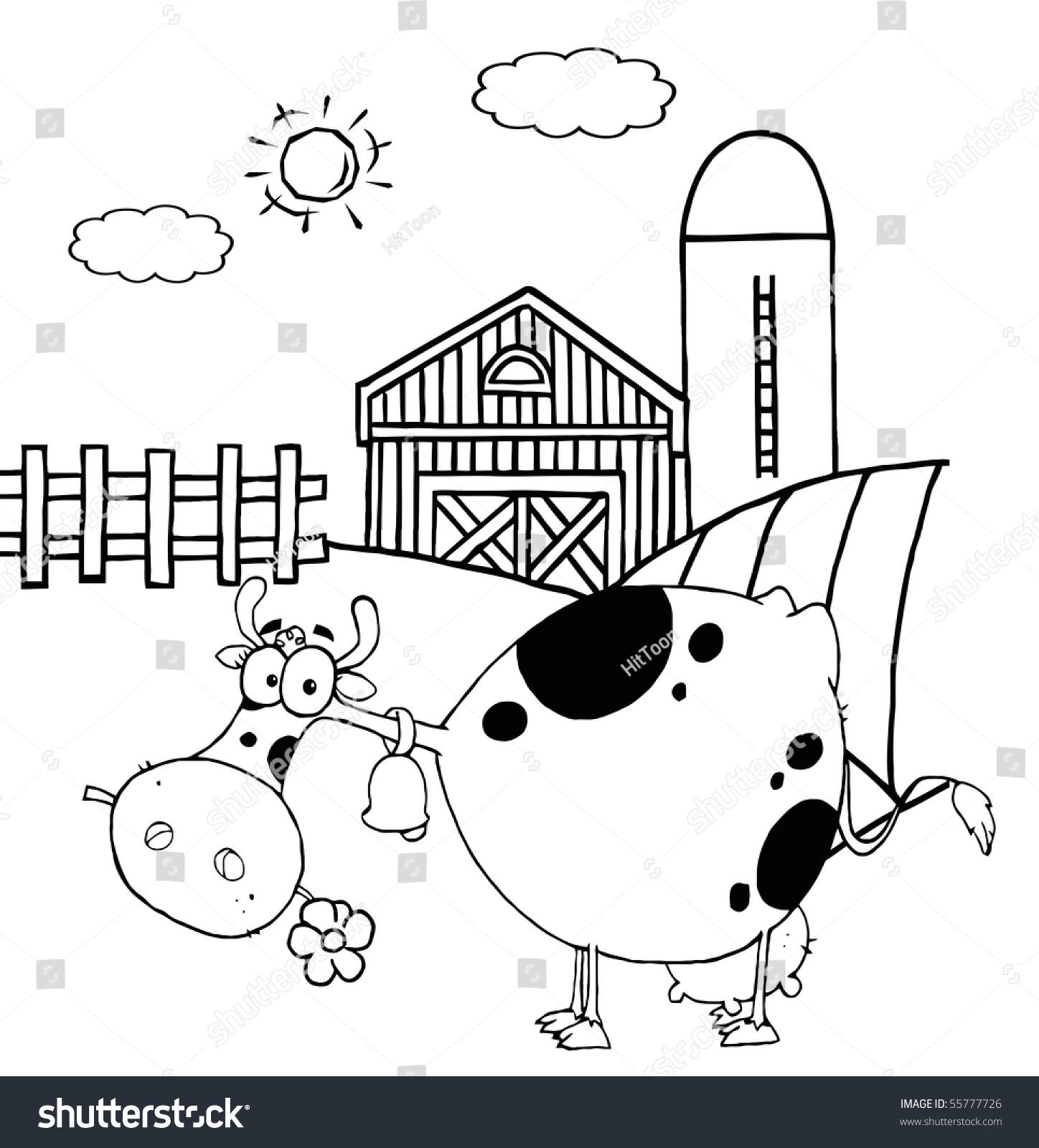 outlined spotted cow eating a daisy near a barn and silo stock ... - Barns Coloring Pages Farm Silos