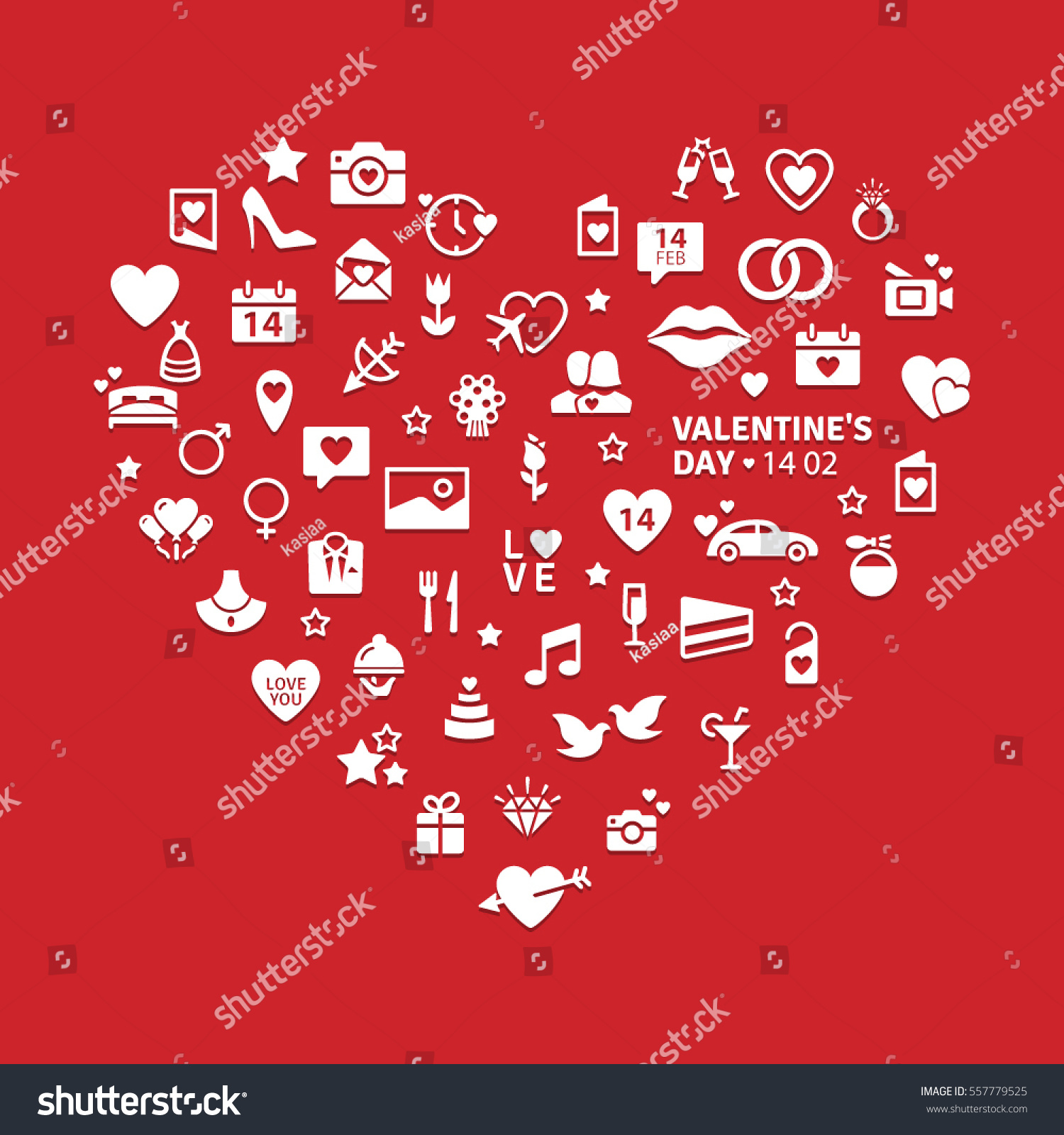 Happy Valentines Day Modern Flat Icons Stock Vector (Royalty Free ...