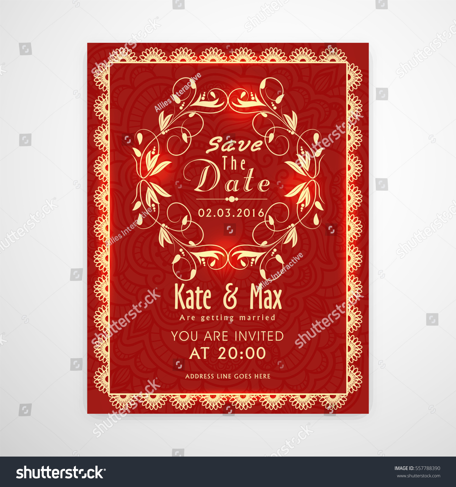 Elegant Red Beautiful Wedding Invitation Card Stock Vector (Royalty ...