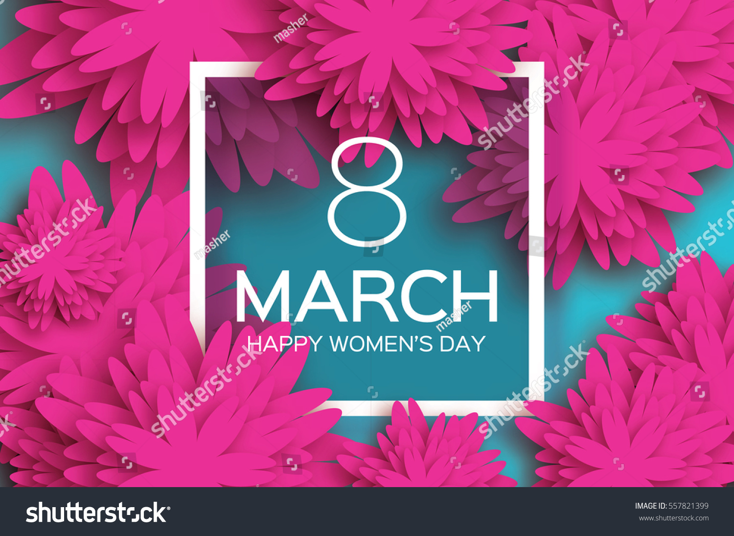 8 March. pink Floral Greeting card. International Happy Women's Day. Paper cut flower blue holiday background with Square Frame and space for text. Trendy Design Template. Vector illustration #557821399