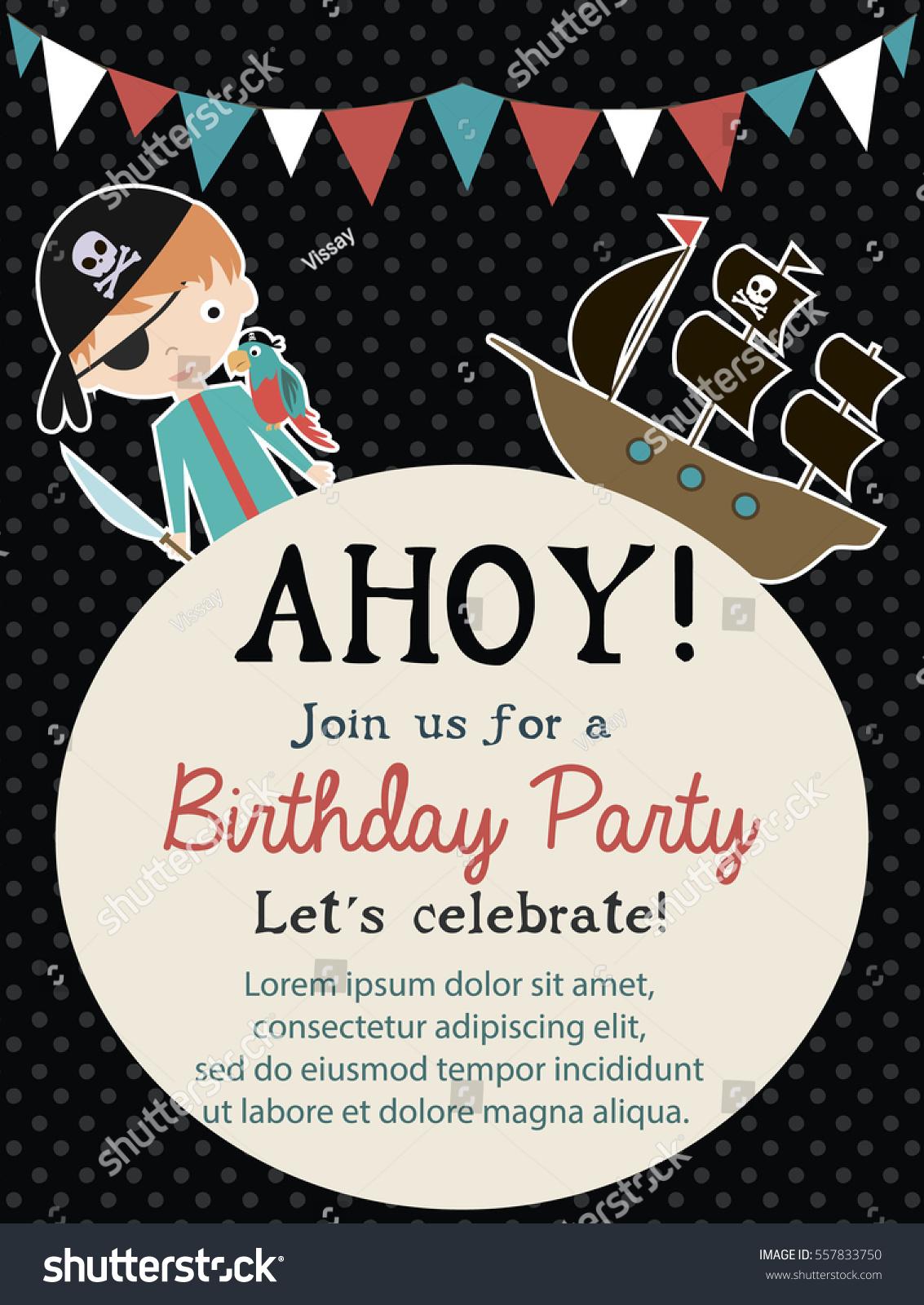 Pirate happy birthday invitation card template stock vector pirate happy birthday invitation card template stock vector 557833750 shutterstock stopboris Gallery