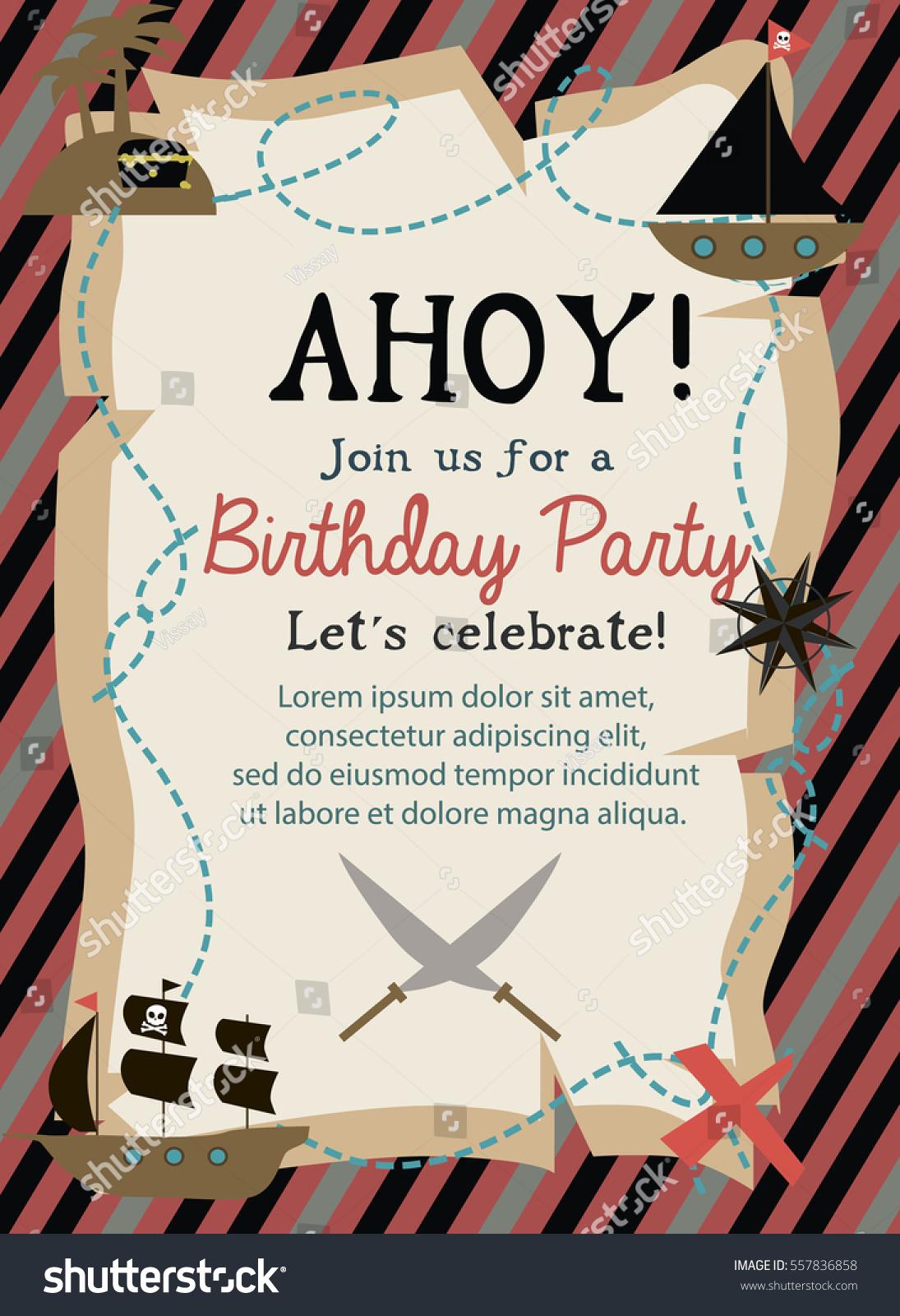 Pirate Happy Birthday Invitation Card Template Stock Vector (Royalty ...