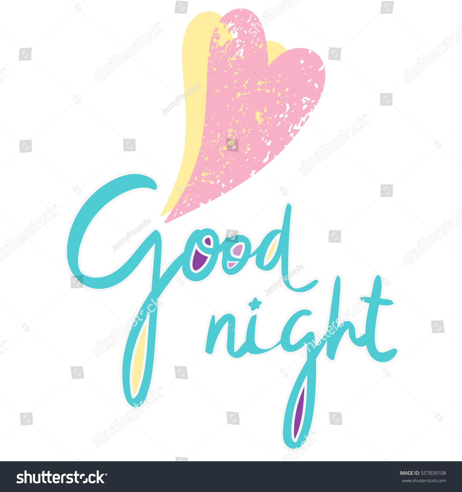 Cute Print Hearts Inscription Good Night Stock Vector Royalty Free
