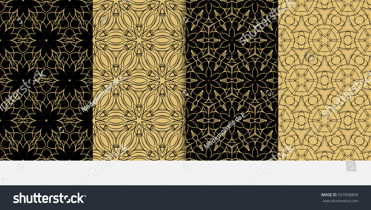 Set Modern Floral Seamless Pattern Background Stock Vector