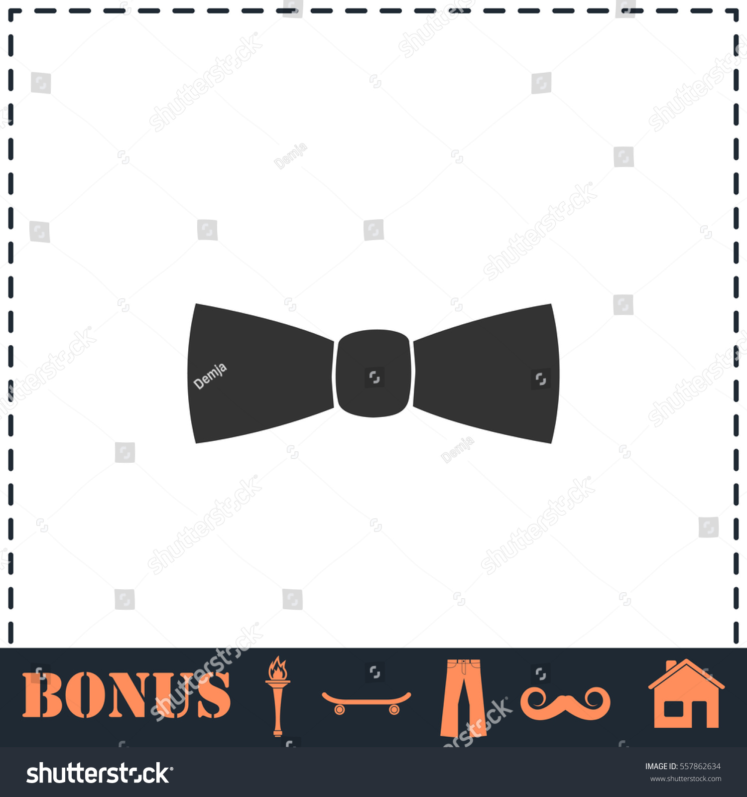 Bow Tie Icon Flat Simple Vector Stock Vector 557862634 Shutterstock