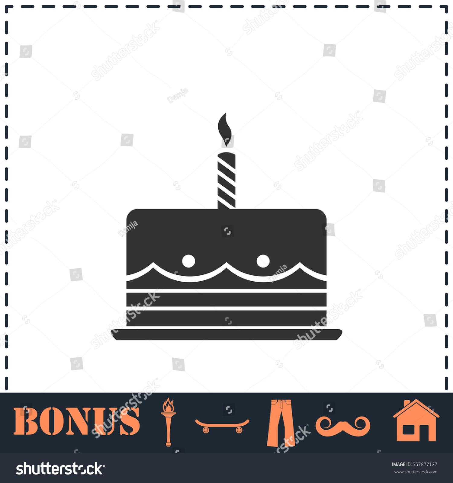 Birthday Cake Icon Flat Simple Vector Stock Vector 557877127