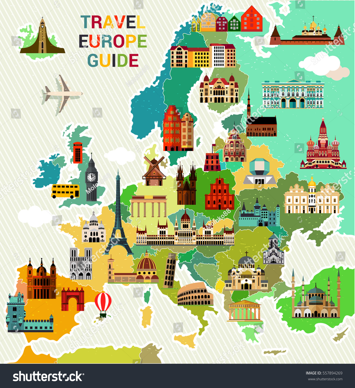 map of europe travel guide Europe Map Famous Sightseeing Travel Guide Stock Vector (Royalty