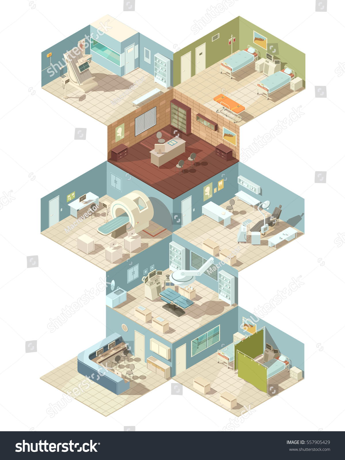 Operating Room Design: Hospital Indoors Isometric Design Concept Set Stock Vector
