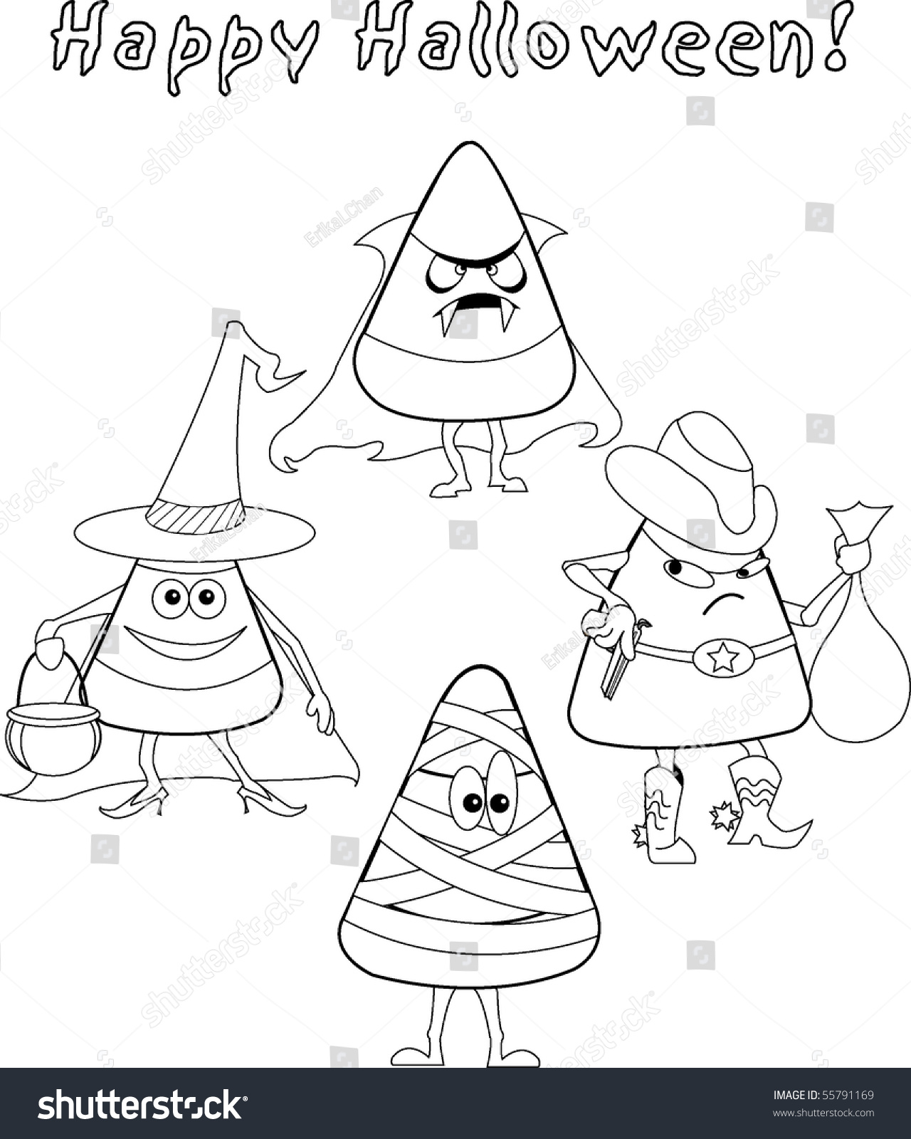 Black And White Kids Halloween Candy Corn Coloring Sheet ...