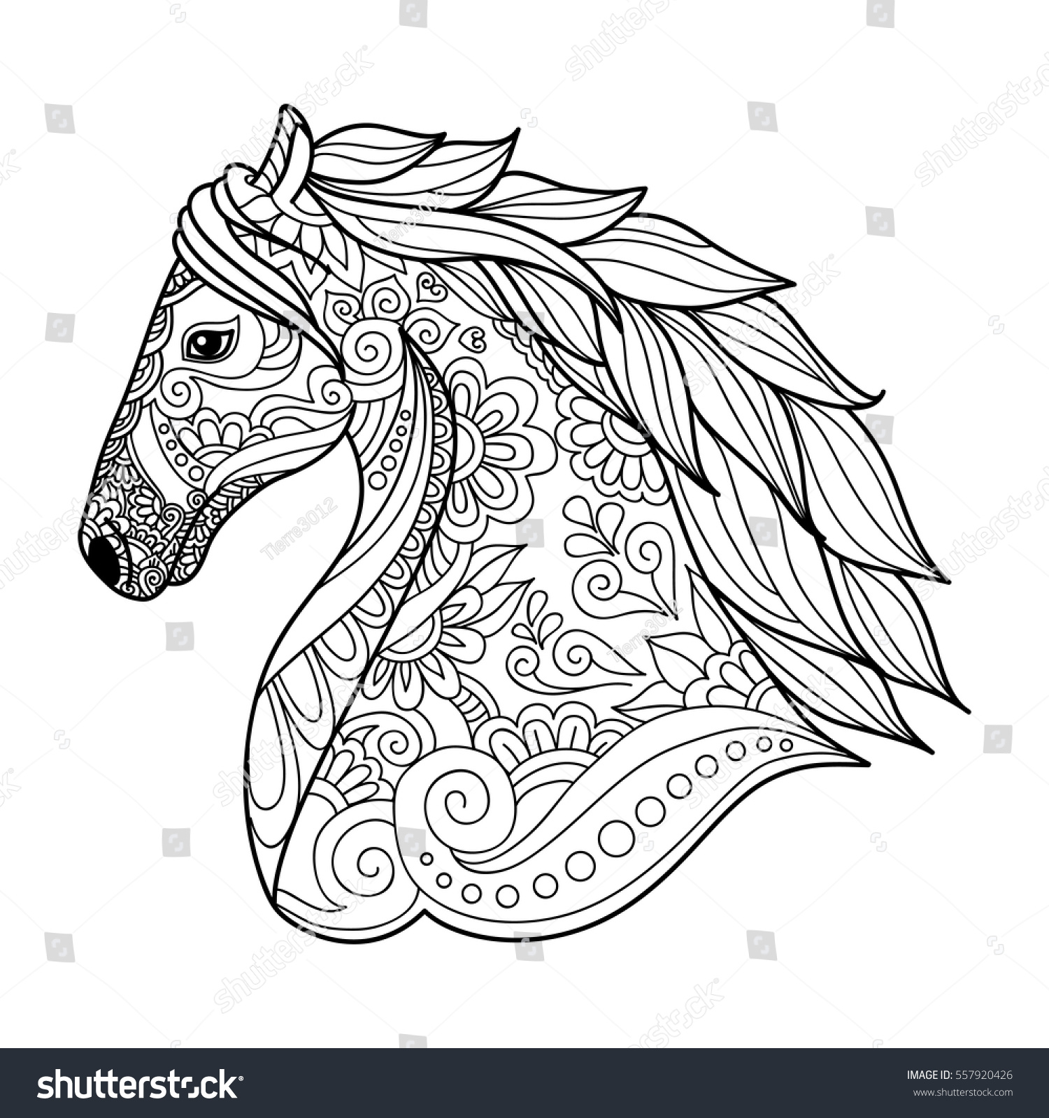 Stylized Head Horse Coloring Book For Adults Vector Illustration Anti Stress Adult