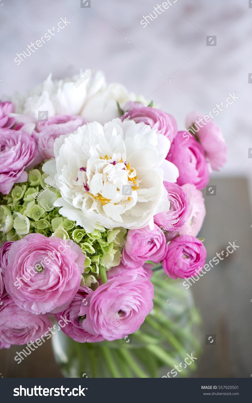 Peony Ranunculus Bouquet Stock Photo Edit Now 557920501