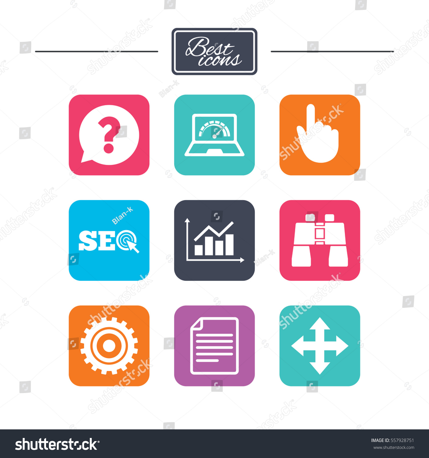 Internet Seo Icons Analysis Chart Page Stock Vector 557928751