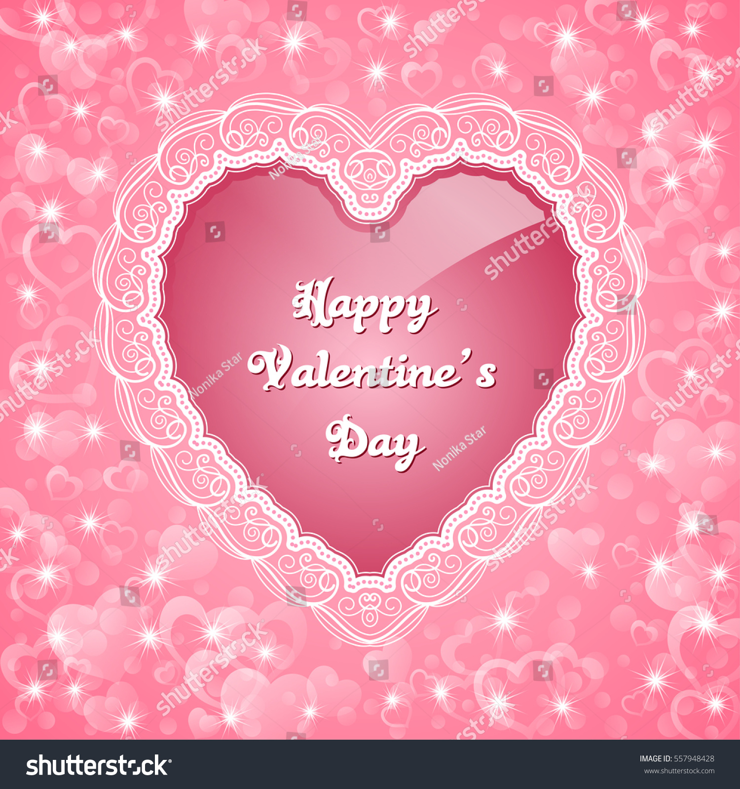 Heartshaped Frame Lace Border Valentines Day Stock Vector 557948428 ...