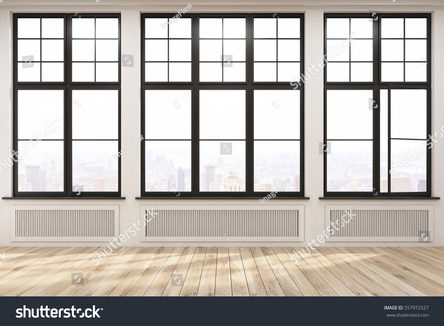 Empty living room with large windows can be as background stock - Empty Room With Three Large Windows In A Beige Wall Wooden Floor Heating