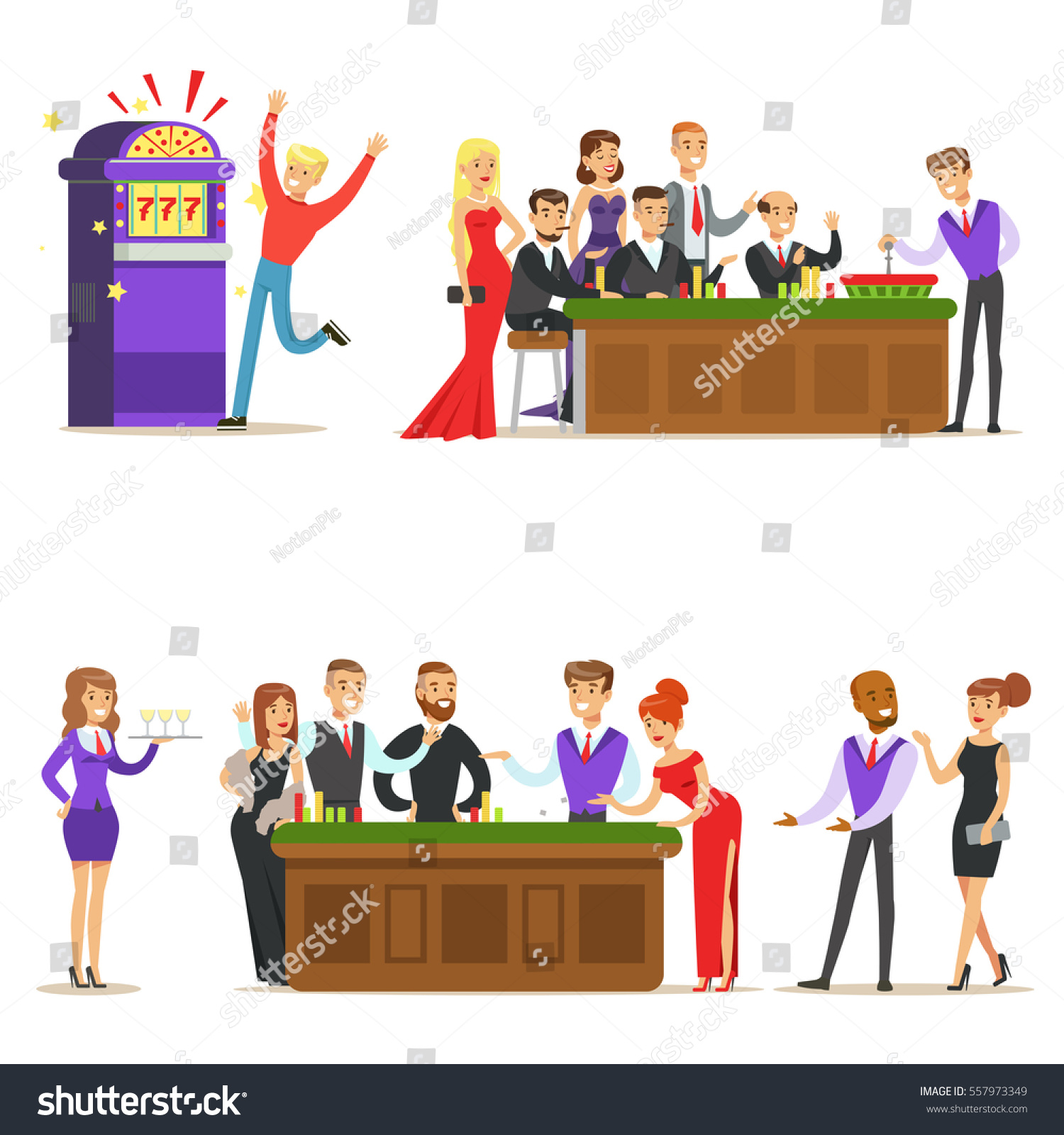 Business team cartoon characters cartoon vector cartoondealer com - Gamblers In Chic Casino In Vegas Playing Cards Roulette And Slot Machine Smiling Players