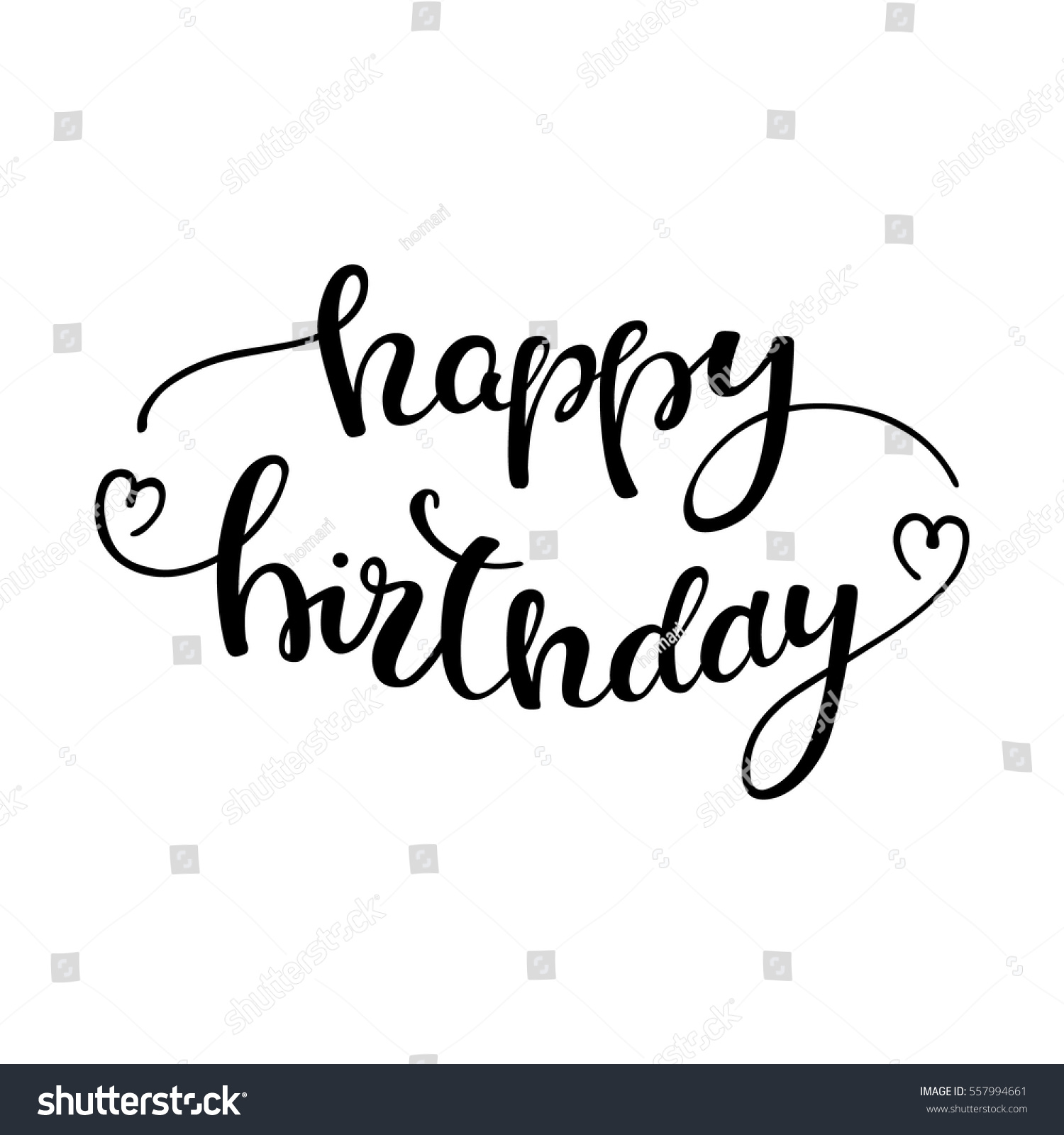 happy birthday hand lettering lettering happy birthday stock vector 557994661 11662