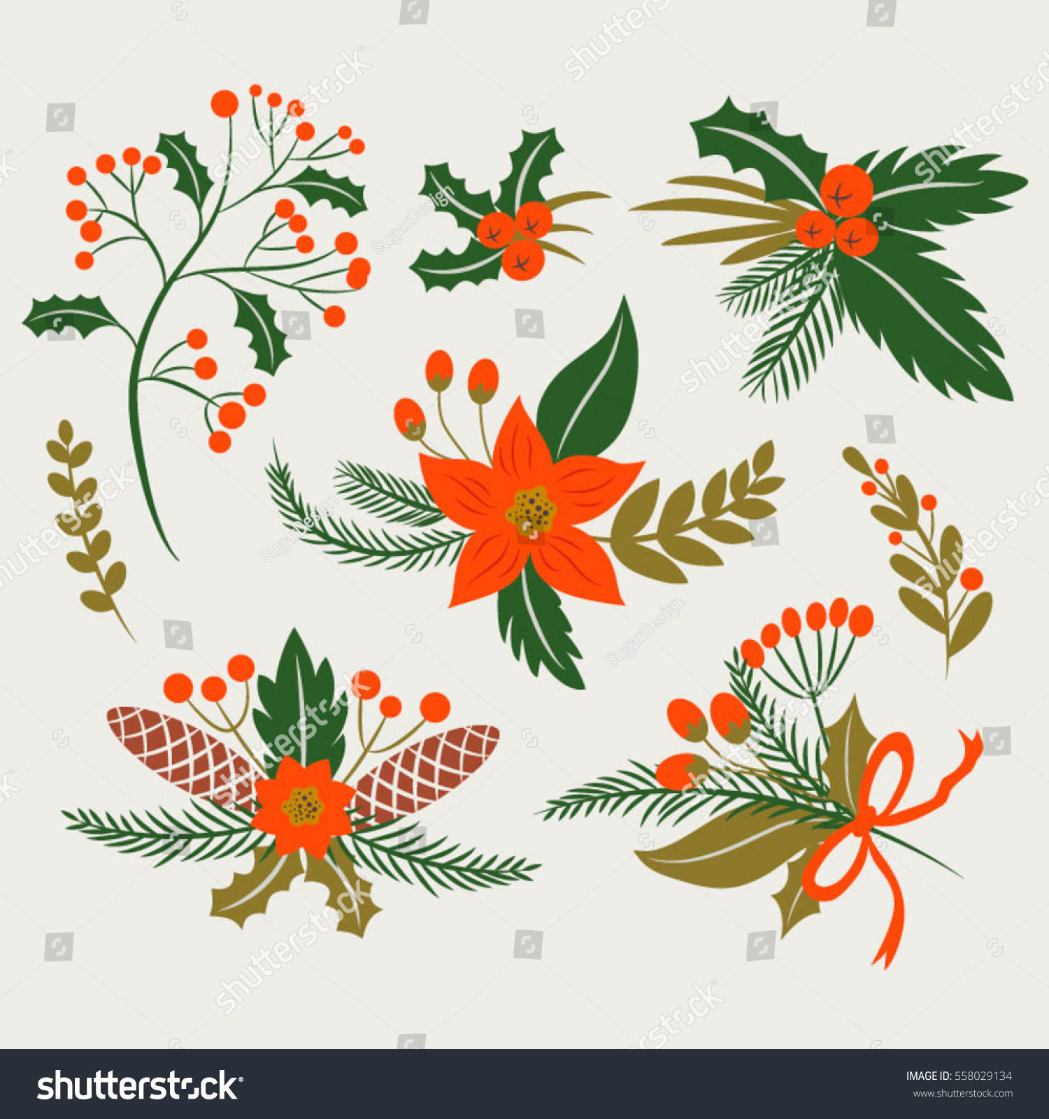 Flat Winter Flowers Christmas Flowers Bouquets Stock Vector Royalty