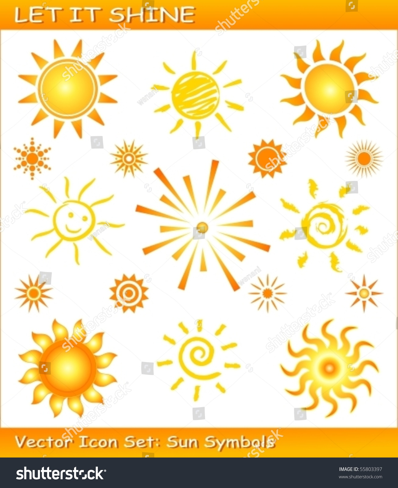 Vector Sun Icons Symbols Different Styles Stock Vector Royalty Free