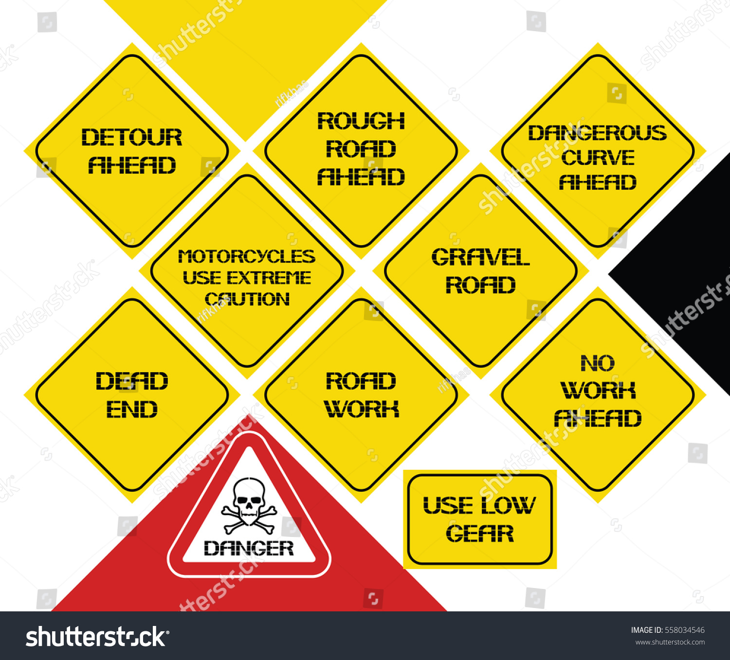 Set of road signs safety signs in certain areas and underpasses warning character