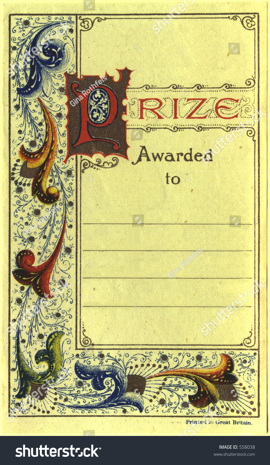 Old Book Inside Cover : Vintage prize certificate which was pasted to the inside