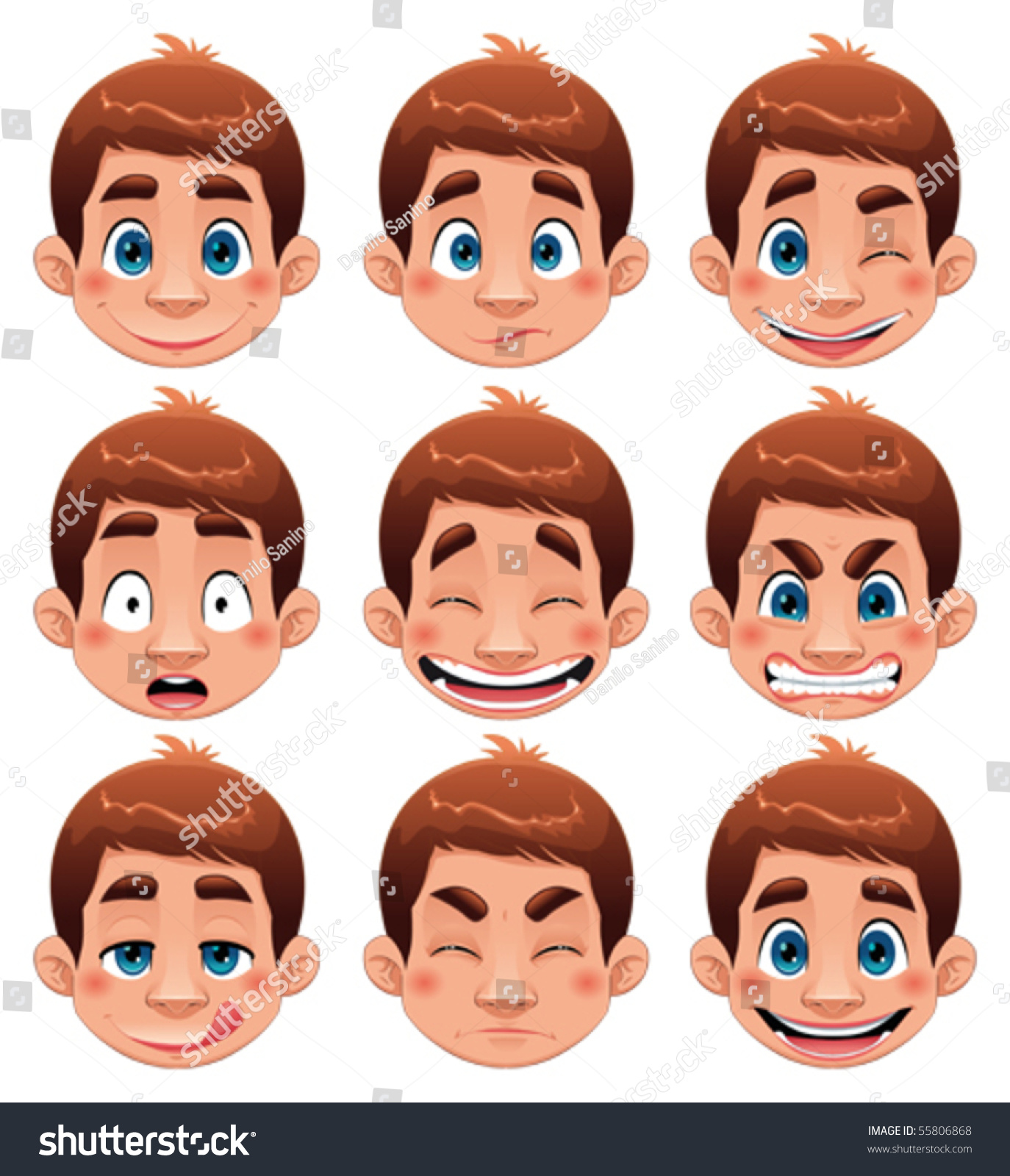 Boy expressions funny cartoon and vector character