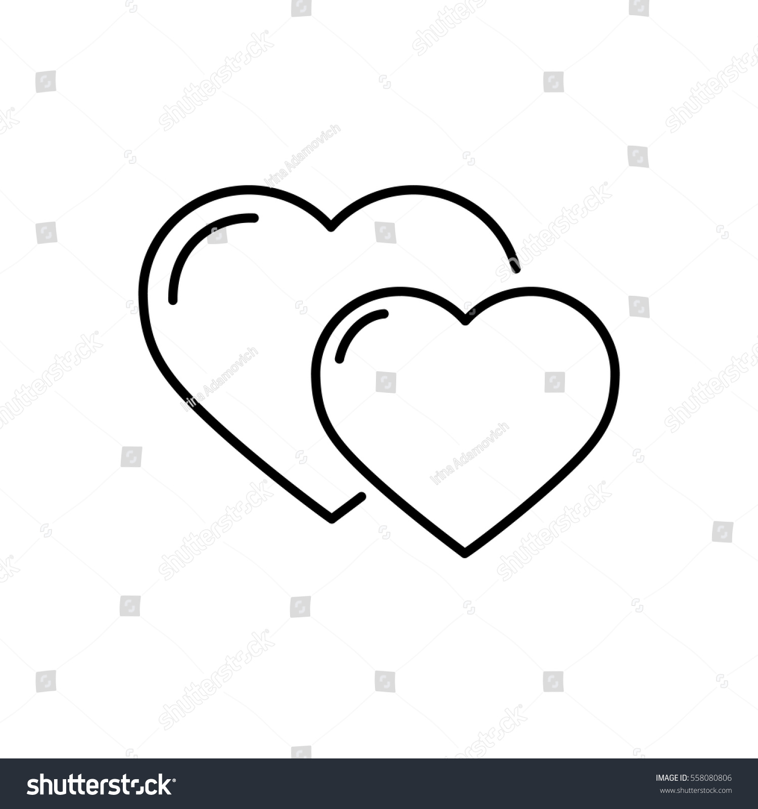 Hearts Thin Line Vector Icon Isolated Stock Vector 558080806 ... for Couple Sticker Line  45ifm