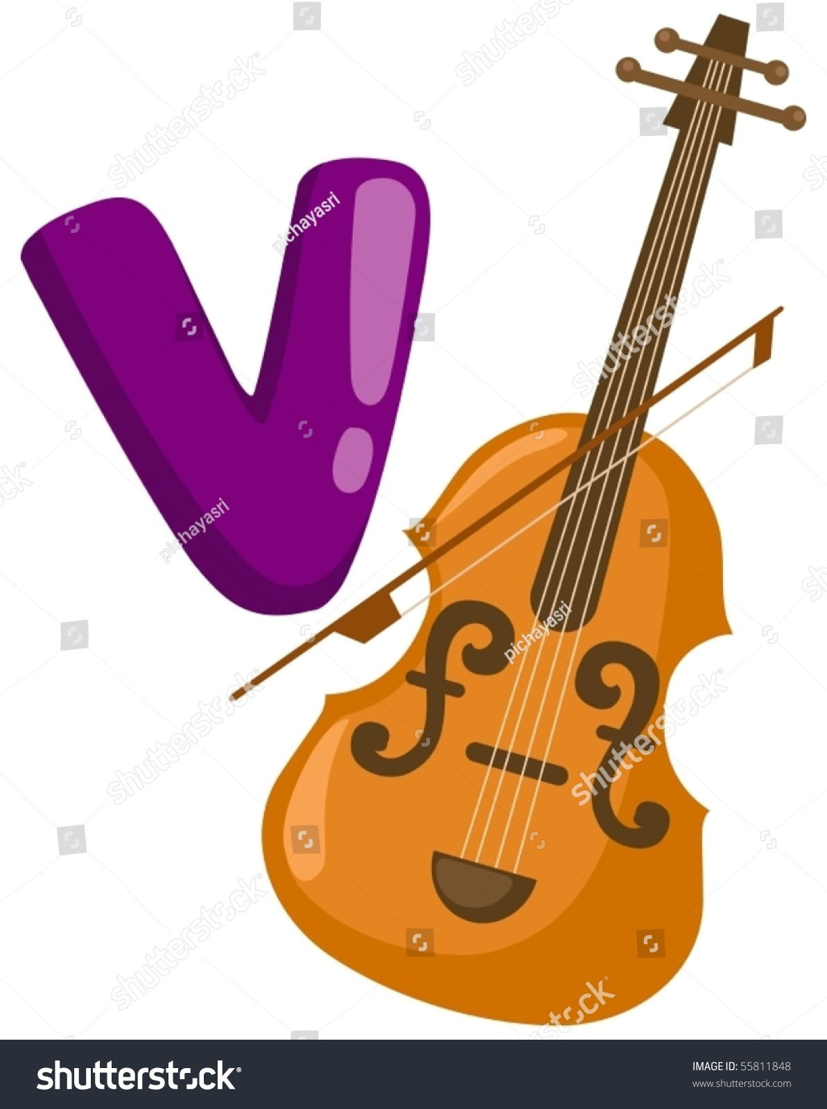 V Is For Violin Illustration Of Isolat...
