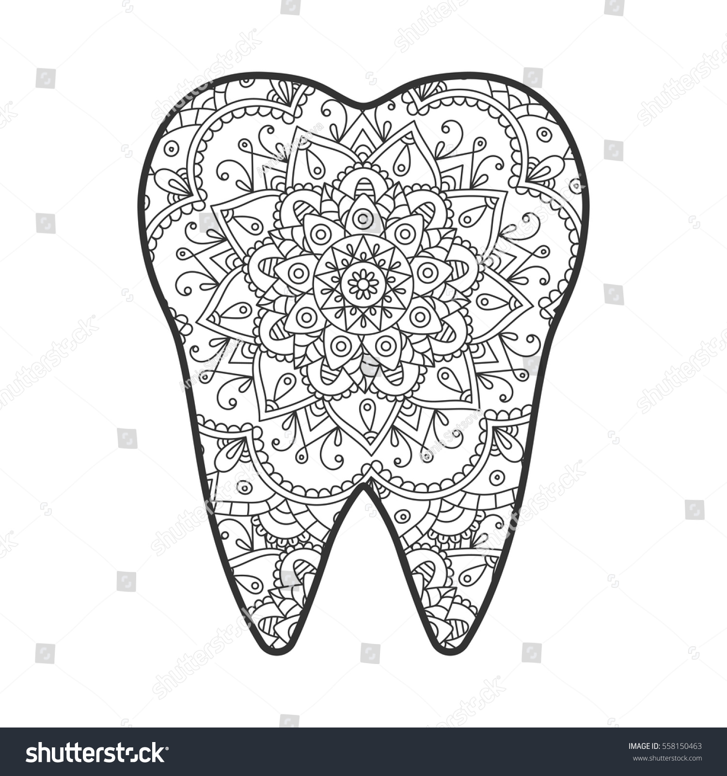 vector illustration tooth abstract pattern mandala stock vector