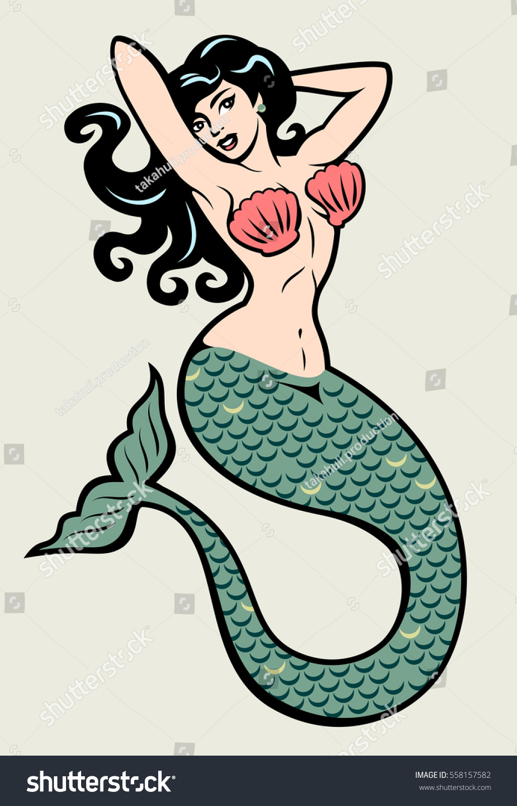Image Mermaid Traditional Style Old School Stock Vector