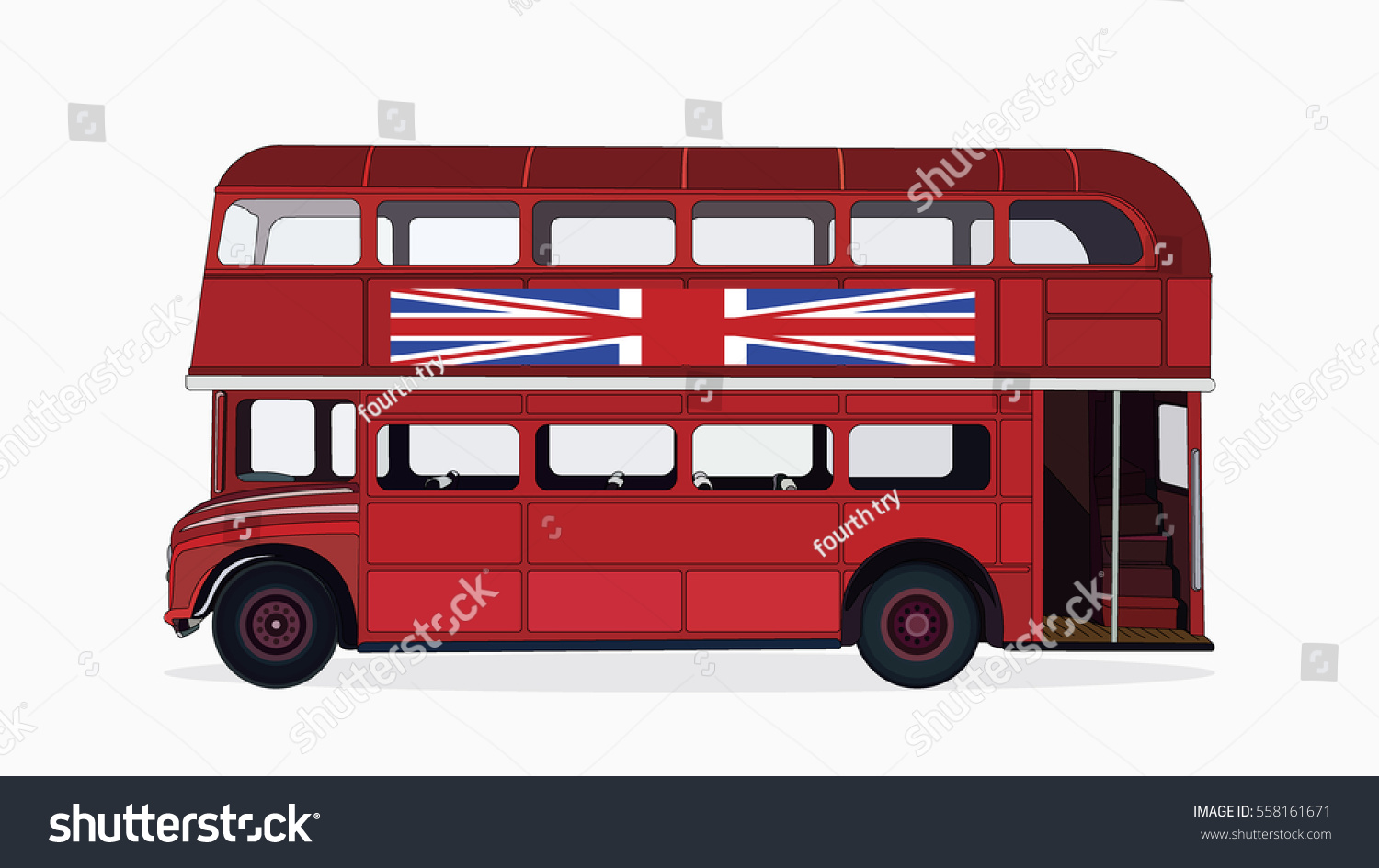 Detailed Side Flat Red Classic Bus Stock Vector 558161671 ...