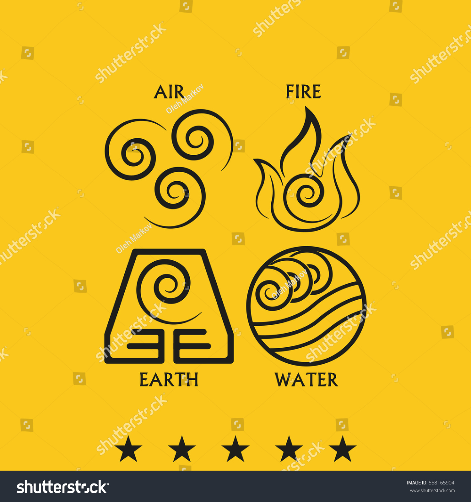 Ancient Symbols Four Elements Subscribe Stock Vector 558165904