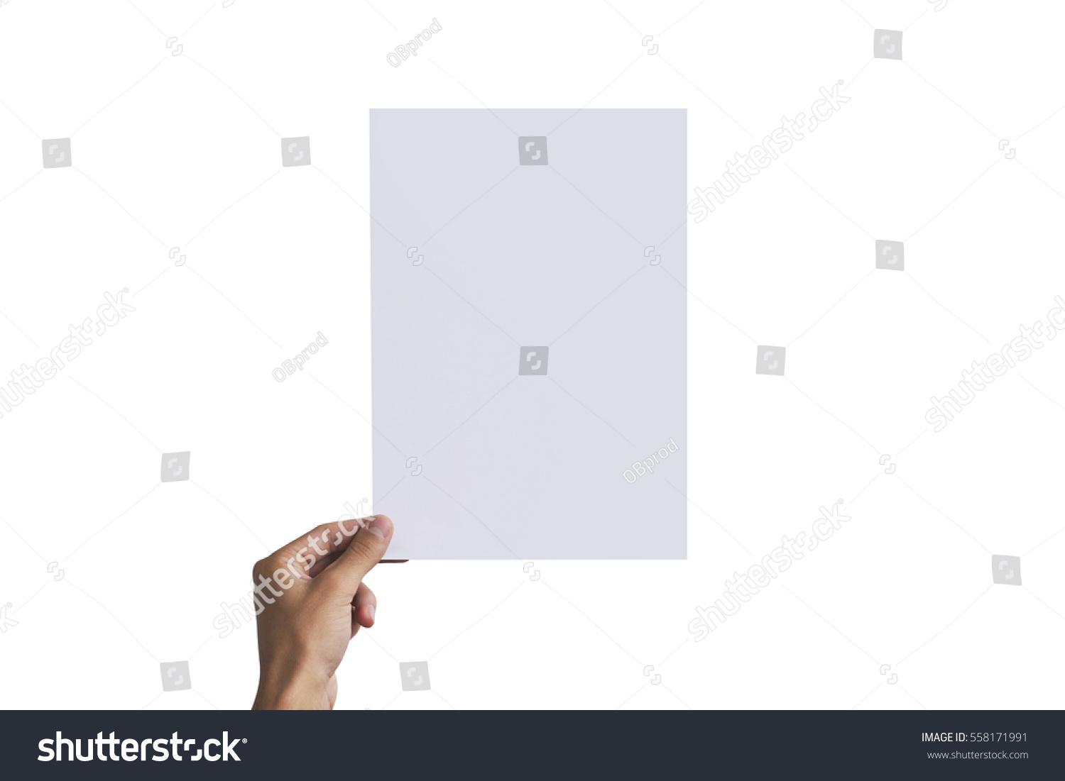 paper brochure holder template - left hand holding a4 paper left stock photo 558171991
