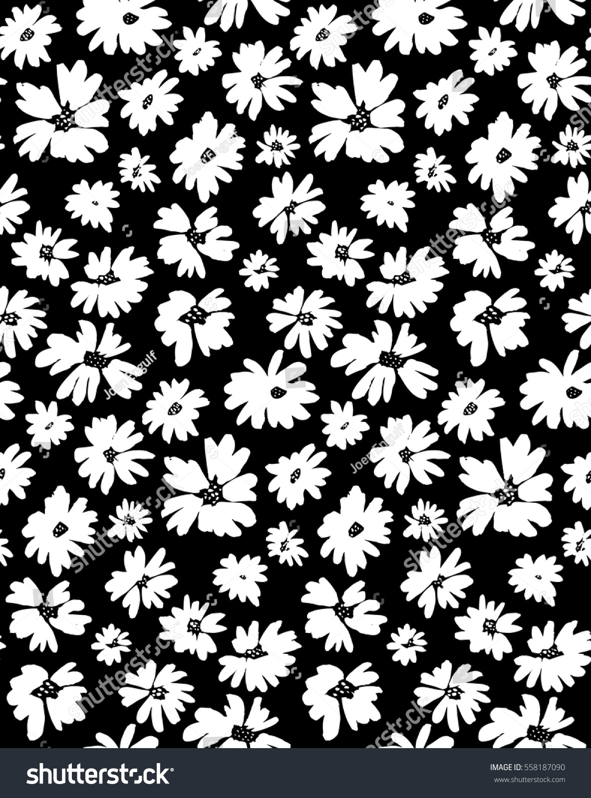 Free hand bold floral print vector black and white