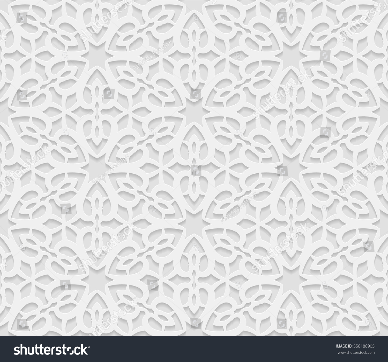 Seamless Arabic Geometric Pattern 3d White Stock Vector