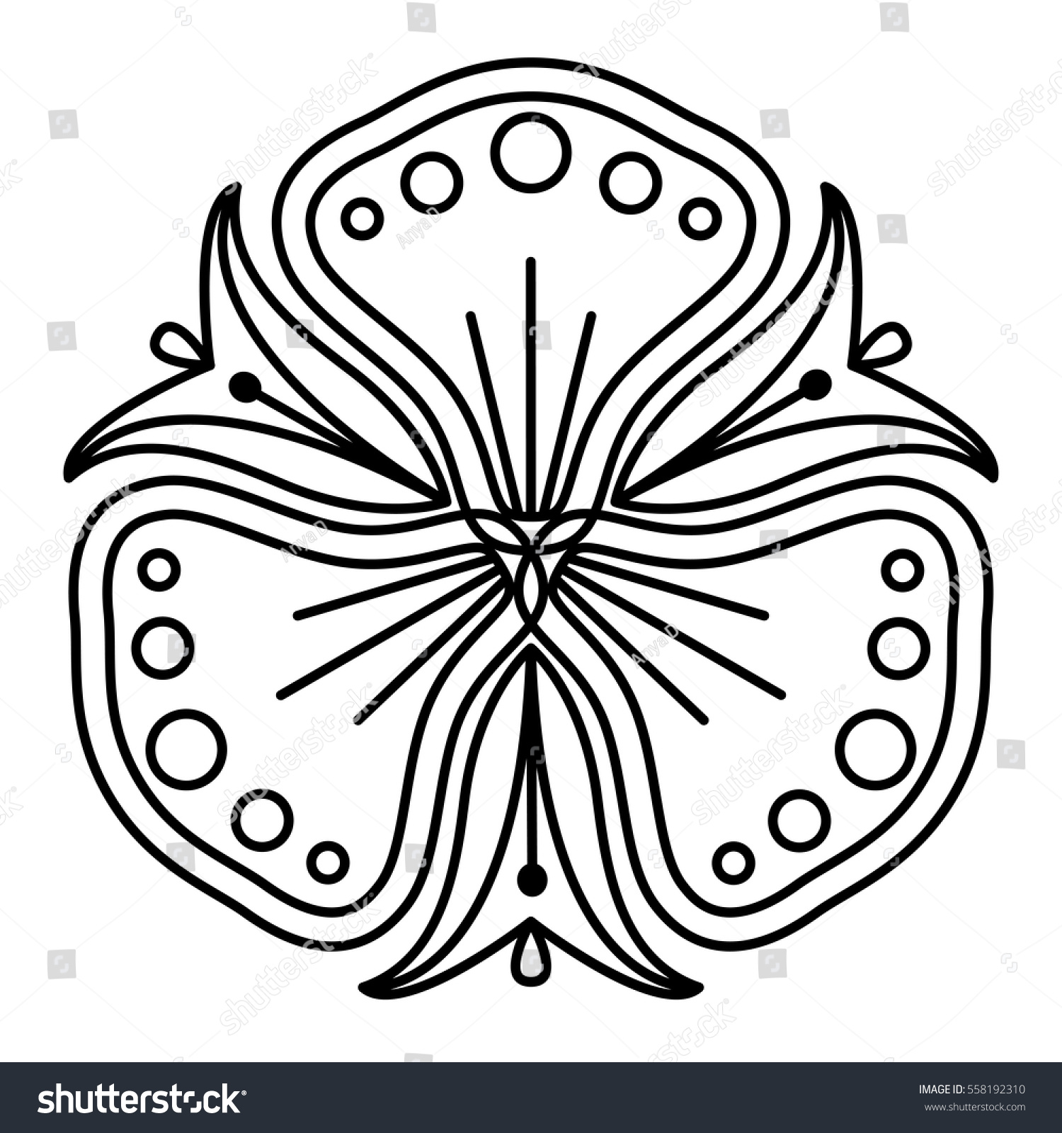 Easy Black And White Flower Pattern Pansy Like Floral Shape For Coloring Book Pages