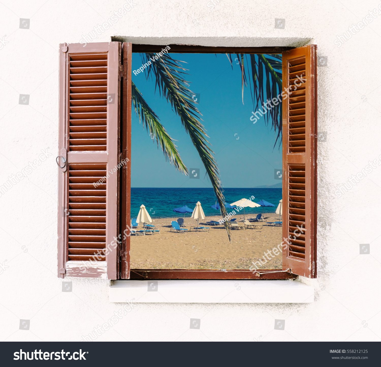 Open window beach - Open Window Of The Old House With Brown Wooden Shutters And Seaside View Summer Beach